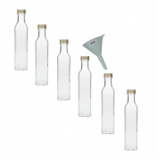 Viva Haushaltswaren Glass Bottles with Screw Tops 250 ml (Pack of 6) and White Funnel
