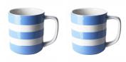 Cornishware Blue and White Stripe Set of 2 Coffee Cups Mugs, 300ml
