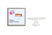 Brand New Large Single Embossed Clear Glass Cake Stand with Foot AM1794