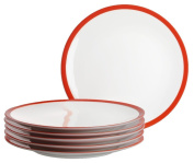 Domestic 21 cm 6-Piece Swoon Dessert Plate, Red