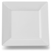10 x Strong Heavy Duty Ridged Plastic White Square Party Plates