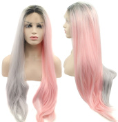 Ebingoo 3 Tones Long Straight Dark Roots Ombre Grey to Pink Synthetic Lace Front Wig Hair Replacement Wigs for Women