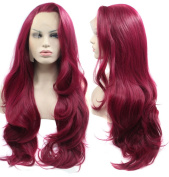 Ebingoo Glueless Long Purple Wavy Hair Replacement Wig Synthetic Lace Front Wigs Fashion Women's WIgs For Party