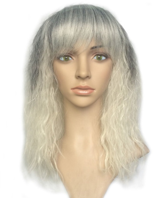 Namecute Kinky Curly Wigs Ombre Grey to White Wigs for Black Women