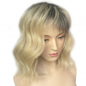 Namecute Ombre Wig Grey to Blonde Natural Curly Wig Shoulder Length Kanekalon Synthetic Fibre with Wig Cap