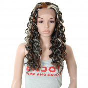60cm Synthetic Lace Front Wigs Heat Resistant Curly Highlight Free Part Heavy Density Wigs for Black Women African American Colour F4/30J/6#