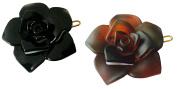 Parcelona French Flower Tortoise Shell N Black Celluloid Acetate Side Slide Barrette with Snap on Hair Clip for Girls