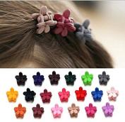 Fireboomoon 40 Pcs Girls Flower Shaped Mini Hair Claws Hair Bangs Hair Pin For Little Girls Mix Coloured