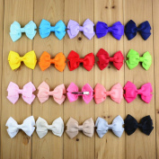 CellElection 20pcs 7.6cm Simply Different Colours Bowknot 3 layer Design Hairclips Irregular Hairbow