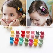 Fireboomoon 30pcs Girls Rabbit ears Shaped Mini Hair Claws Hair Bangs Hair Pin For Little Girls Mix Coloured