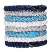 L. Erickson Ponytail Holders - Set of Eight - Blue Glow
