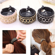 SelfTek 3Pcs Girls Hair Tie Band Ponytail Holder Women Hair Accessories Rope