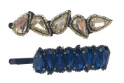 """Pink Pewter Authentic """"Reagan"""" Silver/Blue Beaded Bobby Pin Set"""