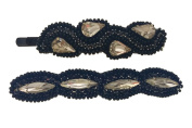 """Pink Pewter Authentic """"Briana"""" Silver/Black Beaded Bobby Pin Set"""