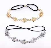 yueton 2pcs Gold and Silver Pearl Flower Elastic Headband Hair Band Women Hair Jewellery Accessories