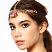 A & C Chic Bohemia Alloy Multicolor Headchain for Women, Fashion Indian Headpieces for Girls.