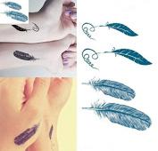 Waterproof body Feather tattoo Sticker Arm wrist temporary tattoo transfer