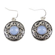 Classical Bronze Retro Style Spirl of Chian Earrings with Blue Artificial Stone at the Centre around Phoenix Bird Dangle Earrings