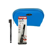 Two Piece Rimmel Kit with 'Exaggerate' Felt Tip Eye Liner (Black) and Professional Eyebrow Pencil and Brush (Black Brown) with Deep Blue Draizee Leather Cosmetic Bag