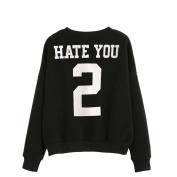Women's Sweater,Neartime Hate You Print Black Hoodie Sweatshirt Cute Tops
