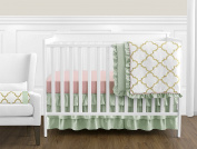 Boutique Ava Mint Coral White and Gold Trellis Girls Baby Bedding 11 Piece Crib Set without Bumper