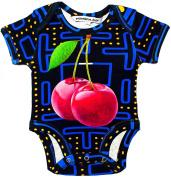 """Inchworm Alley - """"Pacman Cherries"""" Unisex Baby Onesie Bodysuit, 100% Organic Cotton Onesie"""