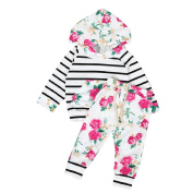 2 PCS/ Set Toraway Newborn Infant Toddler Baby Boys Girls Hooded Floral Striped Tops+Pants Outfits Clothes