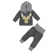 HANYI Baby Kids Set Newborn Baby Girl Boy Clothes Striped Hooded Tops T-shirt+Pants Leggings 2pcs Outfits Sets