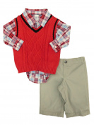 George Infant Boys 3P Holiday Outfit Red Sweater Vest Bodysuit & Khaki Pants