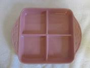 Longaberger Pink Pottery 8 x 8 Divided Dish