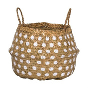 Seagrass Basket with Handles & Dots