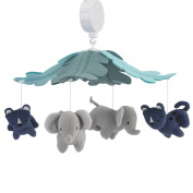 Lambs & Ivy Animal Crackers Jungle Musical Mobile, Grey/Blue