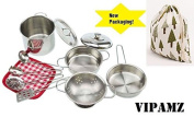 My First Play Kitchen Toys Pretend Cooking Toy Cookware Playset For Kids 11-Pieces Stainless Steel Pots and Pans with Cooking Utensils -Dishwasher Safe by VIPAMZ