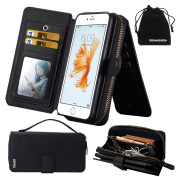 DRUnKQUEEn iPhone 6s Plus / iPhone 6 Plus Case, Premium Zipper Wallet Leather Detachable Magnetic Case Purse Clutch with Black Flip Credit Card Holder Cover for iPhone 6Plus