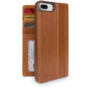 Twelve South Journal Leather Wallet Shell Case with Display Stand for iPhone 7 - Cognac