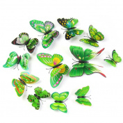 MuLuo 12 pcs Creative 3D Double Wings Butterfly Art DIY Wall Stickers for Home Decoration green