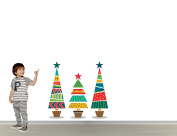 Full Colour Christmas Trees - Wall Decal Sticker For Home Room Door Car Laptop (Wide 140cm x 80cm Height)
