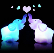 Fashionclubs 2pcs 7 Colour Changing Elephant Night Light Lamp with Battery