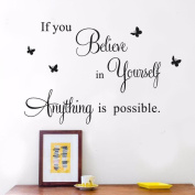 Wall Stickers,GOODCULLER If You Believe Removable Mural Wall Stickers Wall Decal Room Background Decorated Decal Home Decor