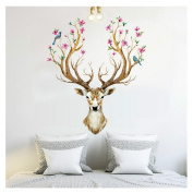 Wall Stickers,GOODCULLER 3D Plum flower deer Wall Stickers For kids rooms living room bedroom Home Decor DIY Decoration PVC Removable Waterproof Background Decorated Decal Home Decor