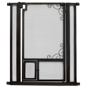 """Deluxe 110cm Tall Safety Gate - Pressure Mounted - Steel Walk-Thru with Pet Door, Indoor Mesh Style - Use in Doorway or Stairway - Width Can Be Adjusted 90cm - 39.5"""" – Extensions Optional"""