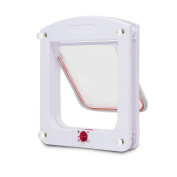 Kocome Small Cat Dog Flap Doors 4-Way Locking For Pets Entry Exit Controllable White