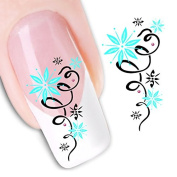 Set of 5 Water Transfer Nail Art Stickers Decal Beauty Cute Green Star Flowers Design