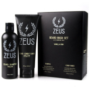 Zeus Beard Shampoo and Beard Conditioner Set for Men - (240ml Bottles) (Scent