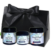Simply Radiant Beauty Organic Bath & Body Gift Set includes 60ml Dead Sea Salt Scrub, 60ml Whipped Body Butter, & 60mlCranberry Orange and Yoghurt Face Mask Gift Set