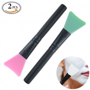 Travelmall 2 piece Mask Applicator Brush Hairless Silicone Super Soft Facial Mask Mud Brush Body Lotion And Body Butter Applicator Tools Brush Random Colour