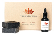 Thai Black Sesame Serum- Facial Anti Ageing & Brightening Treatment Set. Our Best Organic Skin Care Products Combined - Face Oil & Cleanser Soap - Rich in Vitamin E, B Complex, Niacin & Minerals