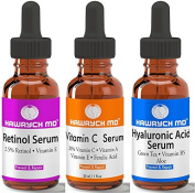 HAWRYCH MD Vitamin C Retinol Hyaluronic Acid Serum Set The Best Anti Ageing Serums Diminish Lines Wrinkles and Hydrate Skin
