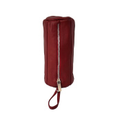Piel Leather Cylinder Cosmetic Bag Red