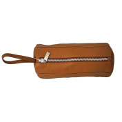 PIelLeather Cylinder Cosmetic Bag Saddle